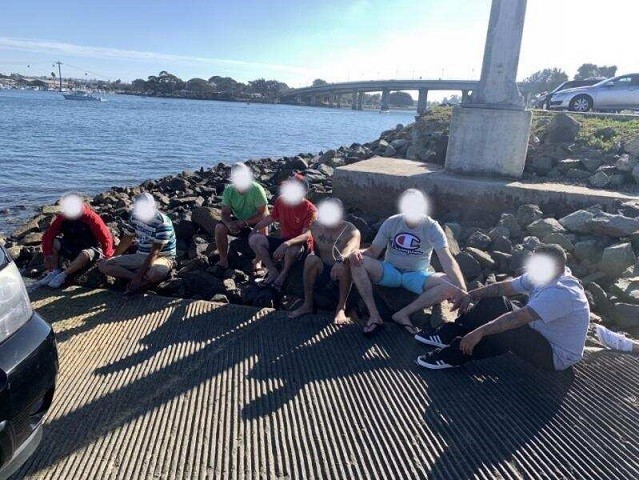 San Diego Sector Border Patrol agents arrest nine Mexican nationals and six human smugglers involved in a maritime smuggling operation. (Photo: U.S. Border Patrol/San Diego Sector)
