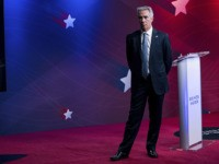 Former U.S. Rep. Joe Walsh, R-Ill., waits for the first Republican presidential primary debate hosted by Business Insider to start, Tuesday, Sept. 24, 2019, in New York. Former Massachusetts Gov. Bill Weld and Walsh are competing to win the Republican nomination over U.S. President Donald Trump, who did not participate …