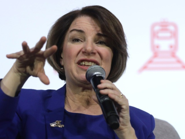 """LAS VEGAS, NEVADA - FEBRUARY 16: Democratic presidential candidate Sen. Amy Klobuchar (D-MN) participates in a """"Moving America Forward: A Presidential Candidate Forum on Infrastructure, Jobs, and Building a Better America"""" at University of Nevada February 16, 2020 in Las Vegas, Nevada. United For Infrastructure held the forum for 2020 …"""
