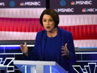 Democratic presidential hopeful Minnesota Senator Amy Klobuchar speaks during the ninth Democratic primary debate of the 2020 presidential campaign season co-hosted by NBC News, MSNBC, Noticias Telemundo and The Nevada Independent at the Paris Theater in Las Vegas, Nevada, on February 19, 2020. (Photo by Mark RALSTON / AFP) (Photo …