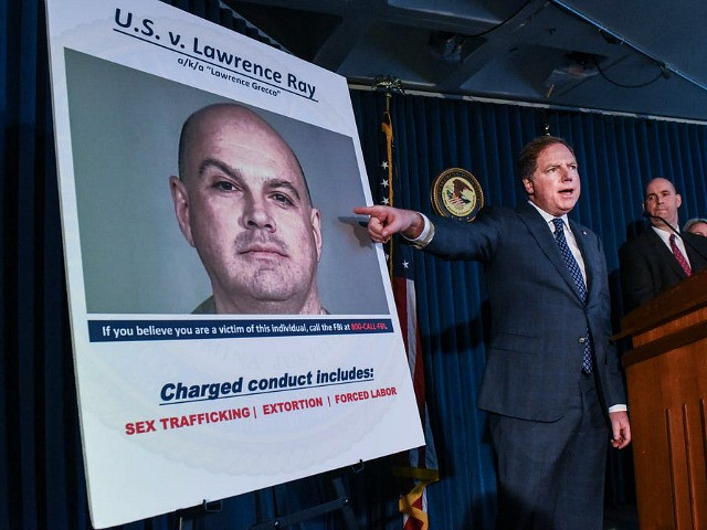 """NEW YORK, NY - FEBRUARY 11: United States Attorney for the Southern District of New York, Geoffrey Berman (C) announces the indictment against Lawrence Ray aka """"Lawrence Grecco"""" on February 11, 2020 in New York City. Lawrence Ray aka """"Lawrence Grecco"""" has been charged with several crimes including sex trafficking, …"""