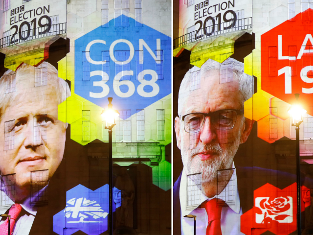 TOPSHOT - The broadcaster's exit poll results projected on the outside of the BBC building in London shows Britain's Prime Minister Boris Johnson's Conservative Party predicted to win 368 seats and a majority (L) and Jeremy Corbyn's opposition Labour Party to win 191 seats, as the ballots begin to be …