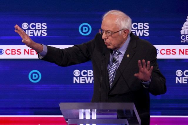 CHARLESTON, SOUTH CAROLINA - FEBRUARY 25: Democratic presidential candidate Sen. Bernie Sanders (I-VT) speaks during the Democratic presidential primary debate at the Charleston Gaillard Center on February 25, 2020 in Charleston, South Carolina. Seven candidates qualified for the debate, hosted by CBS News and Congressional Black Caucus Institute, ahead of …
