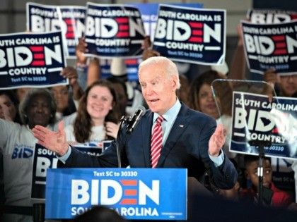 COLUMBIA, SC - FEBRUARY 11: Democratic presidential candidate former Vice President Joe Biden addresses the crowd during a South Carolina campaign launch party on February 11, 2020 in Columbia, South Carolina. Biden skipped a primary night event in New Hampshire after the count there showed a distant finish to front …