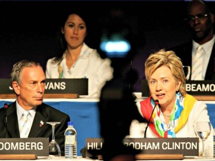 SINGAPORE - JULY 6: Mayor of New York, Michael Bloomberg (L), and U.S. Senator Hillary Clinton (D-NY) attend the New York 2012 presentation on July 6, 2005 at the Raffle City Convention Centre in Singapore. The 117th session of the International Olympic Committee (IOC) will vote 6 July on whether …