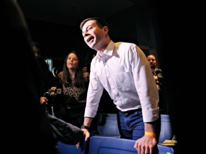 Democratic presidential candidate former South Bend, Ind., Mayor Pete Buttigieg visits a caucus site Saturday, Feb. 22, 2020, in Las Vegas. (AP Photo/John Locher)