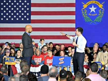LAS VEGAS, NEVADA - FEBRUARY 16: Democratic presidential candidate former South Bend, Indiana Mayor Pete Buttigieg (R) answers an audience question read by actor Keegan-Michael Key during a rally at Rancho High School on February 16, 2020, in Las Vegas, Nevada. Buttigieg is campaigning ahead of the February 22 Nevada …