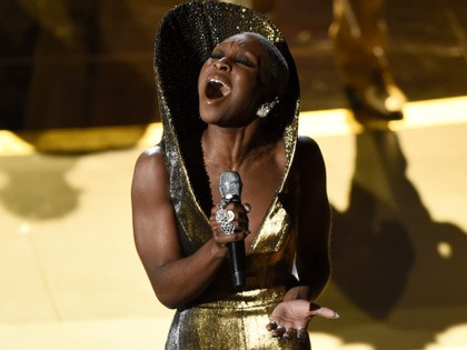 "Cynthia Erivo performs ""Stand Up"" nominated for the award for best original song from ""Harriet"" at the Oscars on Sunday, Feb. 9, 2020, at the Dolby Theatre in Los Angeles. (AP Photo/Chris Pizzello)"