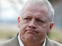 Republican candidate for Virginia Governor, Denver Riggleman, listens to a question during a news conference at the Capitol in Richmond, Va., Tuesday, Jan. 31, 2017. Riggleman addressed the killing of bill that would bar political contributions from regulated monopolies. (AP Photo/Steve Helber)