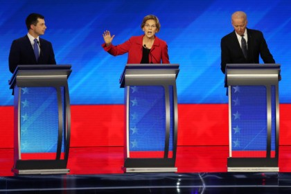 MANCHESTER, NEW HAMPSHIRE - FEBRUARY 07: (L-R) Democratic presidential candidates former South Bend, Indiana Mayor Pete Buttigieg, Sen. Elizabeth Warren (D-MA) and former Vice President Joe Biden participate in the Democratic presidential primary debate in the Sullivan Arena at St. Anselm College on February 07, 2020 in Manchester, New Hampshire. …