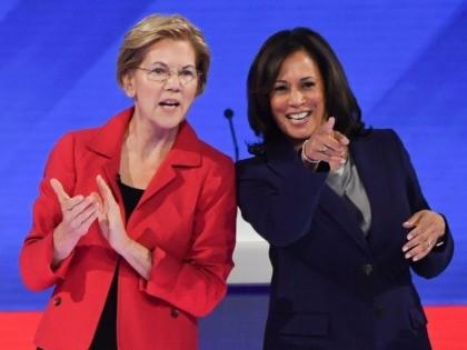 Elizabeth Warren and Kamala Harris debate (Robyn Beck / AFP / Getty)