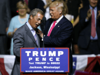 JACKSON, MS - AUGUST 24: Republican Presidential nominee Donald Trump, right, greets United Kingdom Independence Party leader Nigel Farage during a campaign rally at the Mississippi Coliseum on August 24, 2016 in Jackson, Mississippi. Thousands attended to listen to Trump's address in the traditionally conservative state of Mississippi. (Photo by …