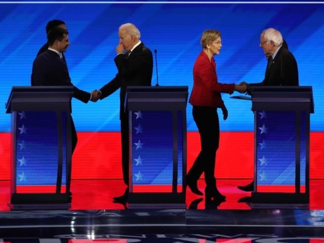 Five frontrunners New Hampshire debate (Joe Raedle / Getty)