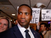 DETROIT, MI - AUGUST 13: Michigan GOP U.S. Senate candidate John James (left) campaigns with the help of Sen. Marco Rubio (R-FL)(right) at Senor Lopez Restaurant August 13th, 2018 in Detroit, Michigan. James, an Iraq war veteran and businessman who has President Donald Trump's endorsement, will be running against Democrat …