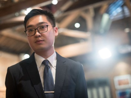"""Andy Chan, founder of the Hong Kong National Party, attends a luncheon where he delivered a speech at the Foreign Correspondents' Club (FCC) in Hong Kong on August 14, 2018. - Hong Kong independence activist Andy Chan attacked China as an empire trying to """"annex"""" and """"destroy"""" the city in …"""