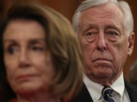 """WASHINGTON, DC - JANUARY 30: U.S. Speaker of the House Rep. Nancy Pelosi (D-CA) (L) and House Majority Leader Rep. Steny Hoyer (D-MD) (R) listen during a news conference at the U.S. Capitol January 30, 2019 in Washington, DC. House Democrats held a news conference to introduce the """"Paycheck Fairness …"""