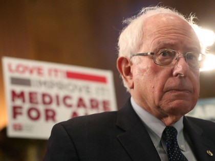 "WASHINGTON, DC - APRIL 10: Sen. Bernie Sanders (I-VT) speaks while introducing health care legislation titled the ""Medicare for All Act of 2019"", during a news conference on Capitol Hill, on April 9, 2019 in Washington, DC."