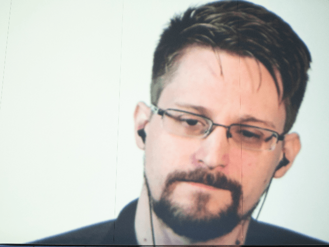 Computer security consultant Edward Snowden in connection from Russia during the Wired Next Fest 2019 at the Giardini Indro Montanelli on May 26, 2019 in Milan, Italy. (Photo by Rosdiana Ciaravolo/Getty Images)