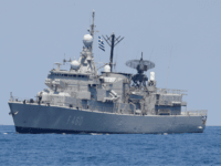 A photo taken on August 7, 2019, shows the Greek HS Aigaion frigate during an exercise how simulate a humanitarian response to a powerful earthquake and significant movement of IDF vessels and foreign vessels in the Mediterranean sea. - Sailors from France, Greece and the United States arrived on their …