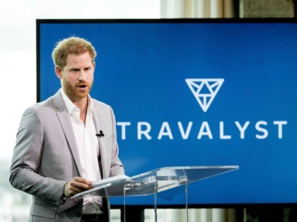 Britain's Prince Harry delivers a speech during the Adam Tower project introduction and global partnership between Booking.com, SkyScanner, CTrip, TripAdvisor and Visa in Amsterdam on September 3, 2019 an initiative led by the Duke of Sussex to change the travel industry to better protect tourist destinations and communities that depend …