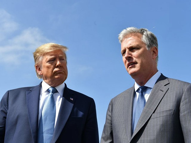 US President Donald Trump(L)speaks next to new national security advisor Robert O'Brien on September 18, 2019 at Los Angeles International Airport in Los Angeles, California. - Last week, Trump abruptly fired John Bolton, a vigorous proponent of using US military force abroad and one of the main hawks in the …