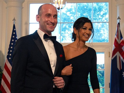 White House Senior Advisor Stephen Miller (L) and Katie Waldman arrive in the Booksellers area of the White House to attend an Official Visit with a State Dinner honoring Australian Prime Minister Scott Morrison, in Washington, DC, on September 20, 2019. (Photo by Alastair Pike / AFP) (Photo credit should …