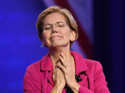Democratic presidential hopeful Massachusetts Senator Elizabeth Warren reacts to supporters as she arrives for a town hall devoted to LGBTQ issues hosted by CNN and the Human rights Campaign Foundation at The Novo in Los Angeles on October 10, 2019. (Photo by Robyn Beck / AFP) (Photo by ROBYN BECK/AFP …