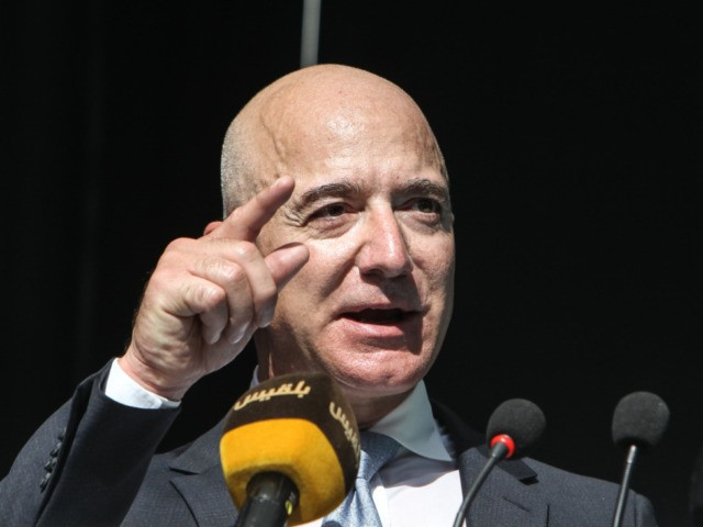 ISTANBUL, TURKEY - OCTOBER 02: CEO of Amazon and Washington Post owner Jeff Bezos speaks during an event marking the one-year anniversary of the assassination of Saudi dissident journalist Jamal Khashoggi on October 02, 2019 in Istanbul, Turkey. Jamal Khashoggi, the Saudi Arabian dissident and columnist for the Washington Post, …