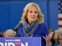 Dr. Jill Biden introduces her husband democratic presidential hopeful former US Vice President Joe Biden during a town hall at the Proulx Community Center in Franklin, New Hampshire on November 8, 2019. - Biden spoke to local community members from the region shortly after signing paperwork at the NH State …