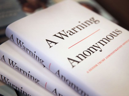 "CHICAGO, ILLINOIS - NOVEMBER 19: Copies of ""A Warning"" by Anonymous are offered for sale at a Barnes & Noble store on November 19, 2019 in Chicago, Illinois. The book, written by an author claiming to be a senior Trump administration official, is billed as an inside look at dysfunction …"