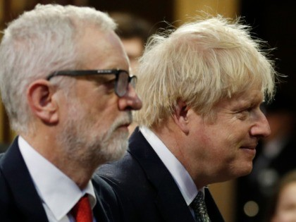 Britain's Prime Minister Boris Johnson (R) and Britain's Labour Party leader Jeremy Corbyn (L) process through the Central Lobby during the State Opening of Parliament at the Houses of Parliament in London on December 19, 2019. - The State Opening of Parliament is where Queen Elizabeth II performs her ceremonial …