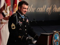 ARLINGTON, VA - JULY 13: Medal of Honor recipient U.S. Army Sergeant First Class Leroy Petry delivers remarks during his Hall of Heroes induction ceremony at the Pentagon July 13, 2011 in Arlington, Virginia. Currently assigned to the 75th Ranger Regiment, Petry received the Medal of Honor for actions during …