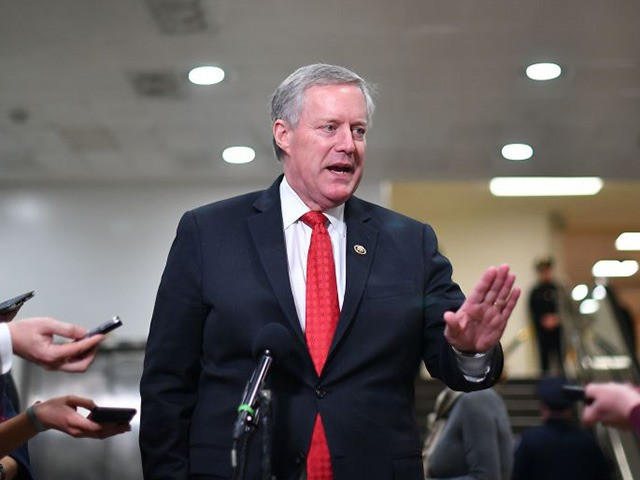 US Representative Mark Meadows, Republican of North Carolina, speaks to the press during a recess in the impeachment trial at the US Capitol on January 24, 2020 in Washington, DC. - Democratic prosecutors were expected to wrap up their case against US President Donald Trump in his impeachment trial Friday, …