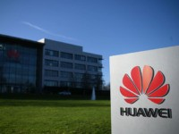 A photograph shows the logo of Chinese company Huawei at their main UK offices in Reading, west of London, on January 28, 2020. - Prime Minister Boris Johnson is expected to announce a strategic decision on January 28, on the participation of the controversial Chinese company Huawei in the UK's …