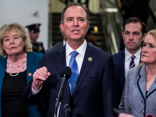 WASHINGTON, DC - JANUARY 30: House Intelligence Committee Chairman Rep. Adam Schiff (D-CA) speaks to reporters in the Senate basement at the U.S. Capitol as the Senate impeachment trial of U.S. President Donald Trump continues on January 30, 2020 in Washington, DC. On Thursday, Senators continue asking questions for the …