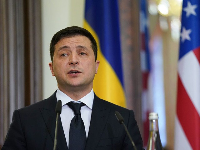 Ukraine's President Volodymyr Zelensky speaks during a joint news conference with US Secretary of State in Kiev on January 31, 2020. (Photo by KEVIN LAMARQUE / POOL / AFP) (Photo by KEVIN LAMARQUE/POOL/AFP via Getty Images)