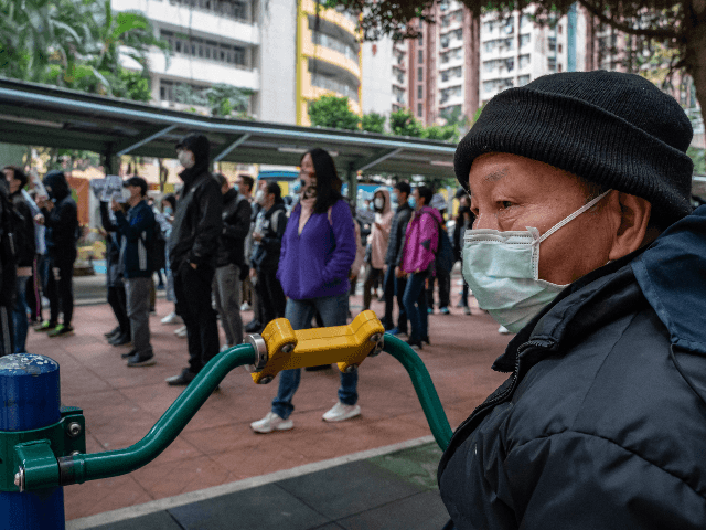 Residents of Mei Foo protest against government plans to convert the Jao Tsung-I Academy into a quarantine camp on February 2, 2020 in Hong Kong, China. With over 9800 confirmed cases of Novel coronavirus (2019-nCoV) around the world, the virus has so far claimed over 200 lives.(Photo by Anthony Kwan/Getty …