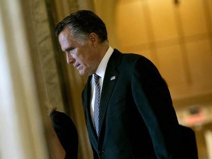 WASHINGTON, DC - FEBRUARY 3: U.S. Senator Mitt Romney (R-UT) walks near the Senate chamber in the U.S. Capitol on February 3, 2020 in Washington D.C. Closing arguments begin Monday after the Senate voted to block witnesses from appearing in the impeachment trial. The final vote is expected on Wednesday. …