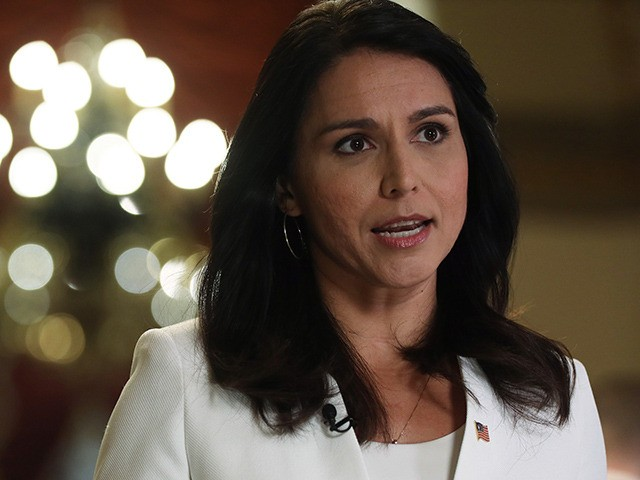 WASHINGTON, DC - JANUARY 09: Democratic Presidential hopeful Rep. Tulsi Gabbard (D-HI) participates in a TV interview at the U.S. Capitol January 9, 2020 in Washington, DC. The House has passed the War Powers Resolution to limit President Trump's military action against Iran before seeking approval from Congress. (Photo by …