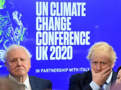 Britain's Prime Minister Boris Johnson (R) and British broadcaster and conservationist David Attenborough attend an event to launch the United Nations' Climate Change conference, COP26, in central London on February 4, 2020. - Britain will bring forward a ban on sales of new petrol and diesel vehicles to 2035, including …