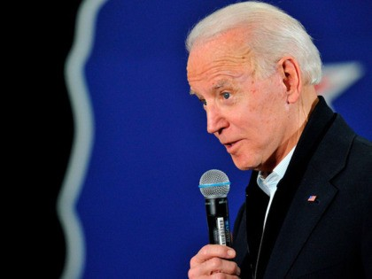 US Presidential candidate and former US Vice President Joe Biden addresses supporters and curious voters at the IBEW Local 490 in Concord, New Hampshire on February 4, 2020. - Democratic White House candidate Pete Buttigieg seized a shock lead in the chaotic Iowa caucuses, closely trailed by leftist senator Bernie …