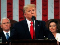 WASHINGTON, DC - FEBRUARY 04: President Donald Trump delivers the State of the Union address in the House chamber on February 4, 2020 in Washington, DC. Trump is delivering his third State of the Union address on the night before the U.S. Senate is set to vote in his impeachment …
