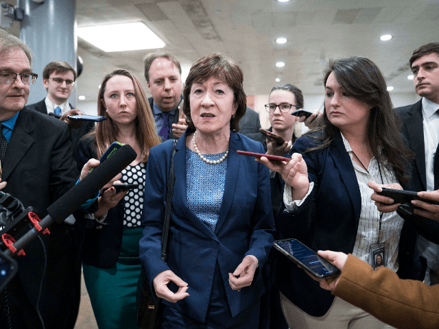 Senator Susan Collins (R-ME) walks to the Senate subway following a vote in the Senate impeachment trial that acquitted President Donald Trump of all charges on February 5, 2020 in Washington, DC. After the House impeached Trump last year, the Senate voted today to acquit the President on two articles …