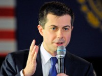US Presidential Candidate and former South Bend, Indiana mayor Pete Buttigieg speaks and answers questions to veterans and members of the public at a town hall event at the American Legion Post 98 in Merrimack, New Hampshire on February 6, 2020. (Photo by Joseph Prezioso / AFP) (Photo by JOSEPH …