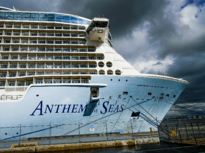 The Royal Caribbean Cruise Ship Anthem of the Seas is docked at Cape Liberty port on February 7, 2020 in Bayonne, New Jersey. At least two dozen Chinese citizens aboard of Royal Caribbean cruise were screened for coronavirus, and four were taken to a nearby hospital. (Photo by Eduardo Munoz …