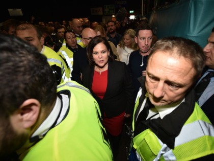 DUBLIN, IRELAND - FEBRUARY 09: Sinn Fein leader Mary Lou McDonald pictured at the RDS Count centre on February 9, 2020 in Dublin, Ireland. Ireland has gone to the polls following Taoiseach Leo Varadkars decision to call a snap election. In the last general election, no party came close to …