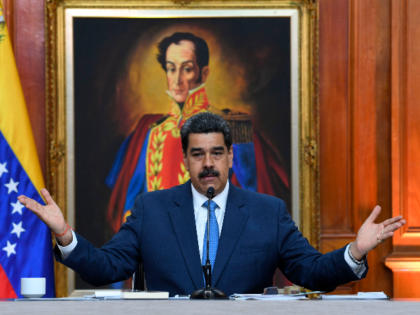 Venezuela's President Nicolas Maduro gestures during a press conference with members of the foreign media at Miraflores palace in Caracas, on February 14, 2020. (Photo by YURI CORTEZ / AFP) (Photo by YURI CORTEZ/AFP via Getty Images)