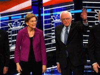 (L-R) Democratic presidential hopefuls Former New York Mayor Mike Bloomberg, Massachusetts Senator Elizabeth Warren, Vermont Senator Bernie Sanders, Former Vice President Joe Biden, Former mayor of South Bend, Indiana, Pete Buttigieg and Indiana Senator Amy Klobuchar arrive on stage for the ninth Democratic primary debate of the 2020 presidential campaign …