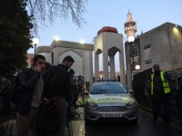LONDON, ENGLAND - FEBRUARY 20: Police stand guard after an attack at the London Central Mosque in Park Road, near Regent's Park on February 20, 2020 in London, England. A man has been arrested on suspicion of attempted murder after allegedly stabbing a 70-year-old man this afternoon inside the mosque …