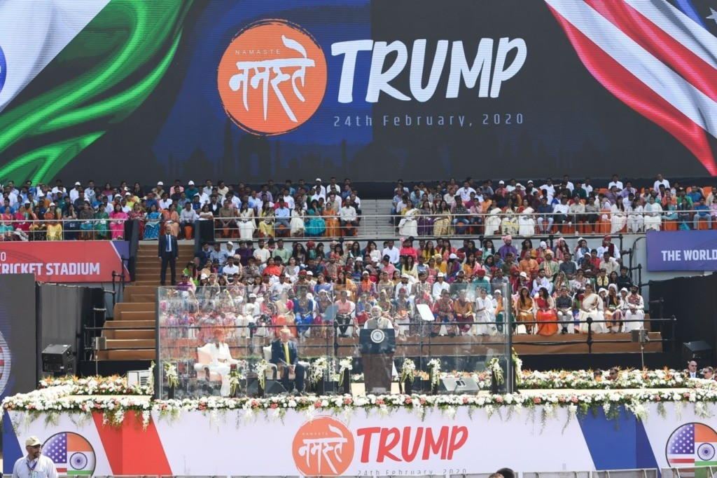 US President Donald Trump (2L) and First Lady Melania Trump (L) listen as India's Prime Minister Narendra Modi speaks during 'Namaste Trump' rally at Sardar Patel Stadium in Motera, on the outskirts of Ahmedabad, on February 24, 2020. (Photo by Money SHARMA / AFP) (Photo by MONEY SHARMA/AFP via Getty Images)